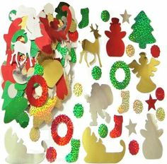 Supplies for Christmas Crafts - Big Bag of Foil Christmas Stickers
