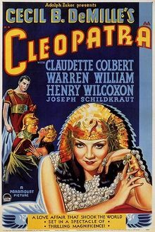 Cleopatra is a 1934 epic film directed by Cecil B. DeMille and distributed by Paramount Pictures, which retells the story of Cleopatra VII of Egypt. It was written by Waldemar Young, Vincent Lawrence and Bartlett Cormack, and produced and directed by Cecil B. DeMille. Claudette Colbert stars as Cleopatra, Warren William as Julius Caesar, and Henry Wilcoxon as Marc Antony.  Victor Milner won the Academy Award for Best Cinematography.