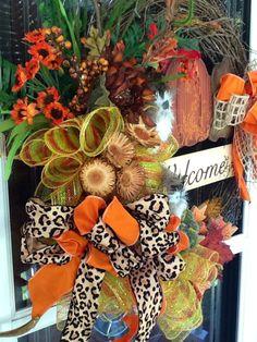 Fall door Wreath by WreathsEtc on Etsy