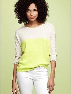 Colorblock button-shoulder sweater