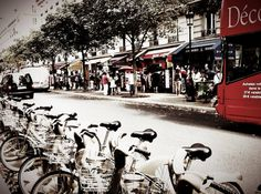Bus Bicycles Bistro  Paris France Street by BellaEvePhotography