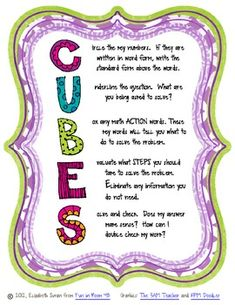 "Here's a poster that highlights the ""CUBES"" method for solving word problems."