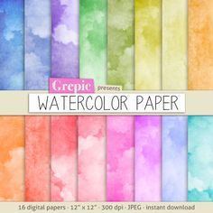 Watercolor digital paper WATERCOLOR PAPER in rainbow colors by Grepic - #watercolor #background #texture #paper #highres #scrapbooking #scrapbook #watercolour #paint