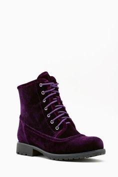Purple velvet boot