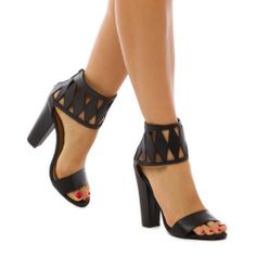 Jeanella Cut Out Ankle Strap Heels