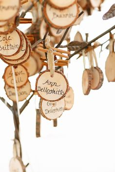 wood slice escort cards // photo by Kina Wicks // http://ruffledblog.com/romantic-illinois-farm-wedding