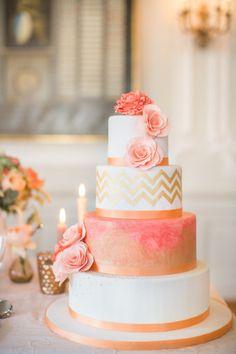 Wedding cake inspiration: http://www.stylemepretty.com/2014/05/19/peach-gold-luxury-wedding-inspiration/   Photography: Sarah Marusic - http://www.sandramarusic.ch/