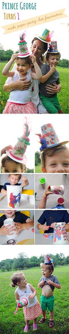 Happy 1st Birthday Prince George! Celebrate the royal birthday party by crafting paper-cup party hat fascinators! #GeorgeTurns1 #everydayfun