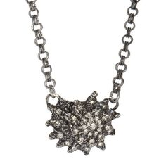 Bejeweled Pewter Shell Necklace