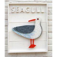 Seagull in clapboard box