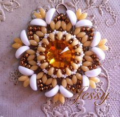 Pendant with tein beads/ superduo, Rivoli Swarovski and piggy beads by Jessica Massari Design