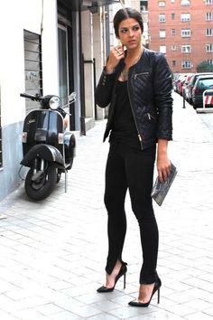 Black Fashion Jacket and Christian Louboutin High Heels