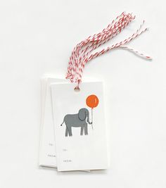 elephant gift tags from Pink Olive - $9.00 <3  #littlethingsbyPO