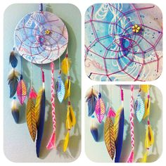 inspiration // Watercolor Dream Catcher with hand painted & tropical feathers, FREE SHIPPING