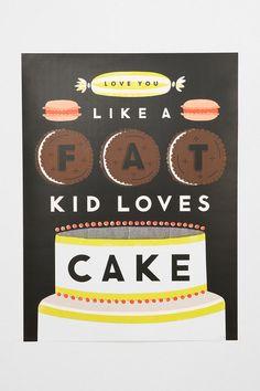 Erin Jang Fat Kid Loves Cake Art Print #urbanoutfitters