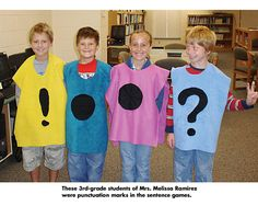 """Could be fun to put on big grown-up t-shirt and use for a whole group puncutation lesson-Ha! I have some great books for punctuation...kids would love to """"act"""" it out!"""