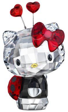 ladybug figurin, hello kitti, cute hello kitty things, swarovski hello kitty, crystal