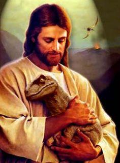 Jesus and His pet Velociraptor