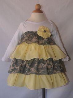 Army ACU Ruffled Onesie Dress. Ideas, ideas!