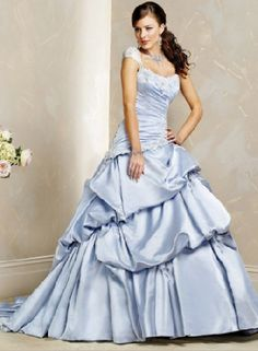 white and blue wedding gowns