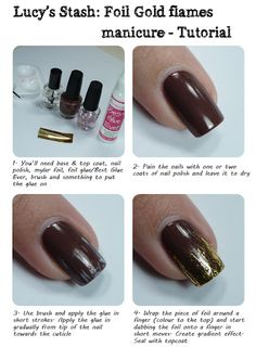 Lucy's Stash: Gold flames manicure tutorial. video tutorial here: http://www.lucysstash.com/2012/04/gold-flames-manicure-with-opi-wooden.html tutorials, flame luci, gold flame, luci stash, foil flame, manicures, flame manicur, video tutori, nail art