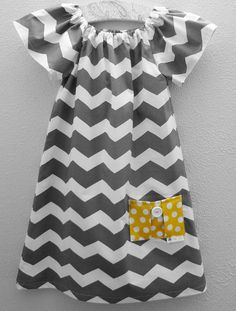 Gray and White Chevron Peasant Dress  Available in by PinkBean