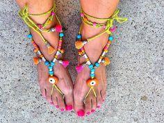 SALEGYPSY  SANDALS  bohemian summer footless sandals  by Nezihe1