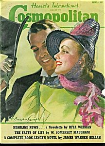 $62 Bradshaw Crandell Cosmopolitan Magazine Cover. Complete issue - W. SOMERSET MAUGHAM, AJ CRONIN, REX BEACH, FAITH BALDWIN, INEZ CALLAWAY ROBB, WILLIAM SEABROOK, JOHN FALTER, CHAMBERS, BARCLAY, ROBERT O REID & OTHERS CONTRIBUTE