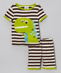 Brown Stripe Dino Pajama Top & Bottoms - Toddler | Daily deals for moms, babies and kids