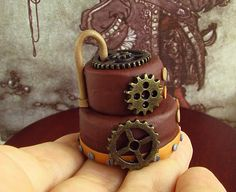 Dollhouse Halloween - Dark Chocolate Steampunk Cake - 1/12 scale. $29.00, via Etsy.
