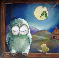 """The owl and the bug original painting on canvas 12""""x12"""