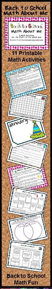 Back to School Math About Me is a collection of printable math activities by Games 4 Learning. These activities are great for math at the beginning of the year. $