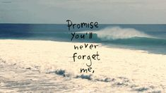 Promise you'll never forget me.