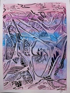 Zentangle Inspired Abstract Watercolor. Use Saran Wrap to create texture then outline with sharpie.