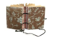 Brown and Aqua Floral Pocket journal  and by Thenibandquill, $34.00