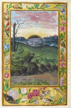 Miniature of a black sun (sol niger) setting on the outskirts of a city, from Salomon Trismosin's Splendor Solis, Germany, 1582, Harley 3469, f. 30v
