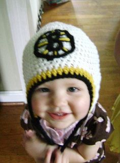 Boston Bruins earflap hat by contrariety on Etsy, $24.00