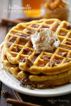 Buttermilk Pumpkin Waffles from chef-in-training.com. … This recipe is the PERFECT fall breakfast! The waffles are amazing and the candied pecans are the perfect finishing touch!