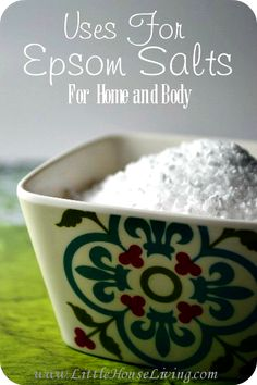 Amazing Uses for Epsom Salt for your body and in your home. These are some great ideas for this inexpensive salt!