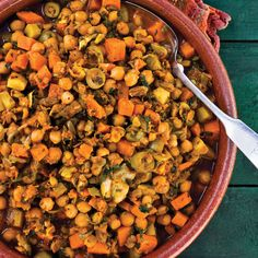 Moroccan inspired chickpea and root veggie tagine recipe