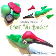 Green Woodpecker Sculpting Tutorial by KatersAcres