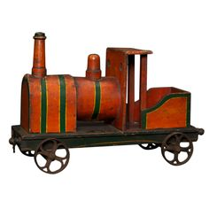 1910-1920's Child's Choo Choo Toy Train | From a unique collection of antique and modern toys at http://www.1stdibs.com/furniture/folk-art/toys/