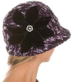 Sakkas Womens Wool Blend Foldable Cloche Bucket Winter Hat with Velvet Flower Accent - List price: $44.99 Price: $19.99