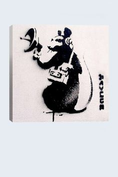 Street Art: Spy Rat 18in x 18in Canvas Print