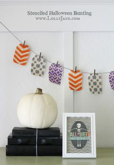 How to make a stenciled Halloween bunting, so easy!!