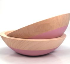 Wind and Willow hand-dipped rose pink wooden bowl - Made in Minnesota | Hunter & Found
