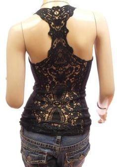 Patty Women Sexy Crochet Eyelet Lace Back Cami Vest Tank Top - I WANT!