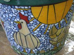 mosaic chicken | Chicken Mosaic Flower Pot | Flickr - Photo Sharing!
