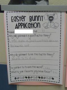 Easter Bunny Application {Journal Idea} classroom, school stuff, preschool lessons, easter write, preschool lesson plans, educ, easter bunni, school idea, easter bunny