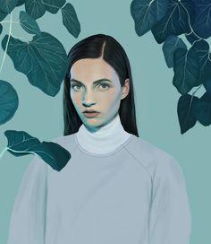 "KEMI MAI   ""Overgrown"" kemi mai, digital paintings, blue, acrylics, digital art, art prints, inspir, illustr, portrait"